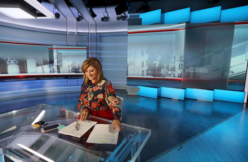 Maria Bartiromo photographed on the set of her show,