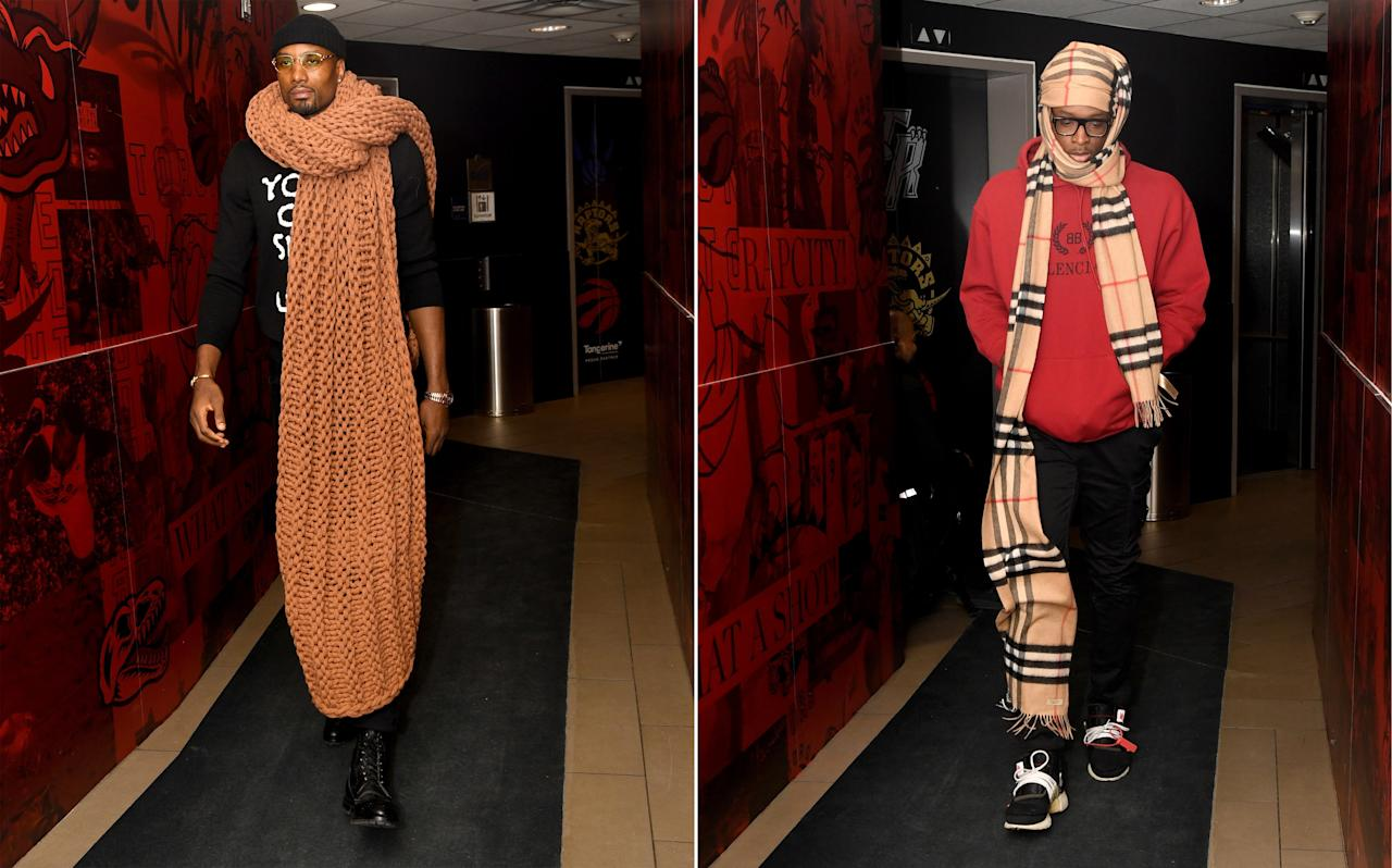 Serge Ibaka and OG Anunoby compete in the first annual #BigFitoftheDay Scarf-Off.
