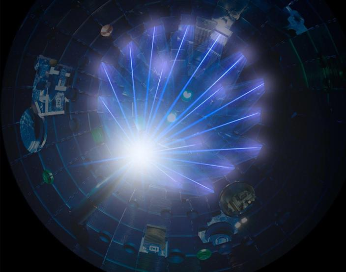 """<span class=""""caption"""">Fire a set of high-power lasers at a tiny speck of hydrogen isotopes and you can initiate nuclear fusion, the process that powers the Sun.</span> <span class=""""attribution""""><a class=""""link rapid-noclick-resp"""" href=""""https://lasers.llnl.gov/news/reports-recommend-stepped-up-u.s.-investment-in-fusion-energy"""" rel=""""nofollow noopener"""" target=""""_blank"""" data-ylk=""""slk:National Ignition Facility"""">National Ignition Facility</a></span>"""