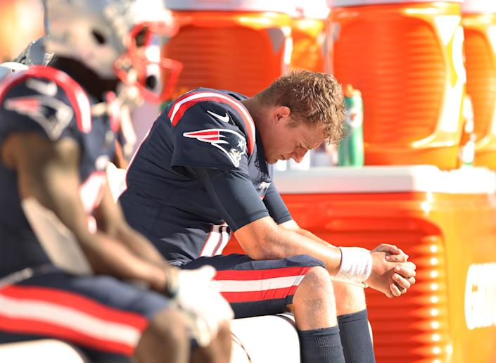 The Patriots and quarterback Mac Jones continued to struggle in Week 3. (Photo by Elsa/Getty Images)