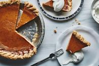 """The sweetened condensed milk adds a decadent richness to the custard. And this pumpkin pie recipe features the perfect combination and ratio of spices, which really highlight the flavors of the pumpkin. <a href=""""https://www.bonappetit.com/recipe/best-pumpkin-pie?mbid=synd_yahoo_rss"""" rel=""""nofollow noopener"""" target=""""_blank"""" data-ylk=""""slk:See recipe."""" class=""""link rapid-noclick-resp"""">See recipe.</a>"""