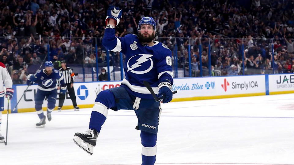 Nikita Kucherov of the Tampa Bay Lightning celebrates after scoring a goal during the Stanley Cup Final. (Photo by Mike Carlson/Getty Images)
