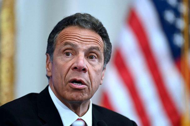 PHOTO: Andrew Cuomo speaks during a press conference at the New York Stock Exchange (NYSE) May 26, 2020, at Wall Street in New York City. (Johannes Eisele/AFP via Getty Images, FILE)