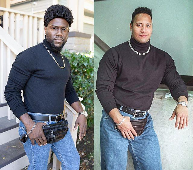 """<p>The comedian took inspiration from his co-star Dwayne Johnson, dressing us as <strong>that</strong> vintage The Rock photo - complete with a bun bag - from the 1990s. Extra points to Hart for including all the details, even a napkin placed under the left elbow.</p><p>Johnson's response? 'You're an asshole. But I still love you. And I'm still laughing.' </p><p>Excellent.<strong><br></strong></p><p><a href=""""https://www.instagram.com/p/B4RB3rjFteP/"""" rel=""""nofollow noopener"""" target=""""_blank"""" data-ylk=""""slk:See the original post on Instagram"""" class=""""link rapid-noclick-resp"""">See the original post on Instagram</a></p>"""