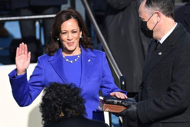 Kamala Harris is sworn in as the U.S. vice-president by U.S. Supreme Court Justice Sonia Sotomayor as her husband, Doug Emhoff, holds the Bible on Wednesday in Washington, D.C.