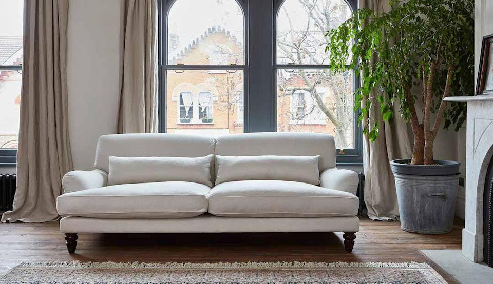 """<p>More forgiving than white, with cooler undertones than cream, a beige sofa is the picture of versatility. Maintain a cool colour scheme by pairing your sofa with greys or soft blues, or warm it up with pinks or a pop of burnt orange. </p><p>Pictured: <a href=""""https://go.redirectingat.com?id=127X1599956&url=https%3A%2F%2Fwww.darlingsofchelsea.co.uk%2Faberdeen&sref=https%3A%2F%2Fwww.housebeautiful.com%2Fuk%2Fdecorate%2Fliving-room%2Fg37418005%2Fmost-popular-sofa-colours%2F"""" rel=""""nofollow noopener"""" target=""""_blank"""" data-ylk=""""slk:Aberdeen Sofa at Darlings of Chelsea"""" class=""""link rapid-noclick-resp"""">Aberdeen Sofa at Darlings of Chelsea</a></p>"""