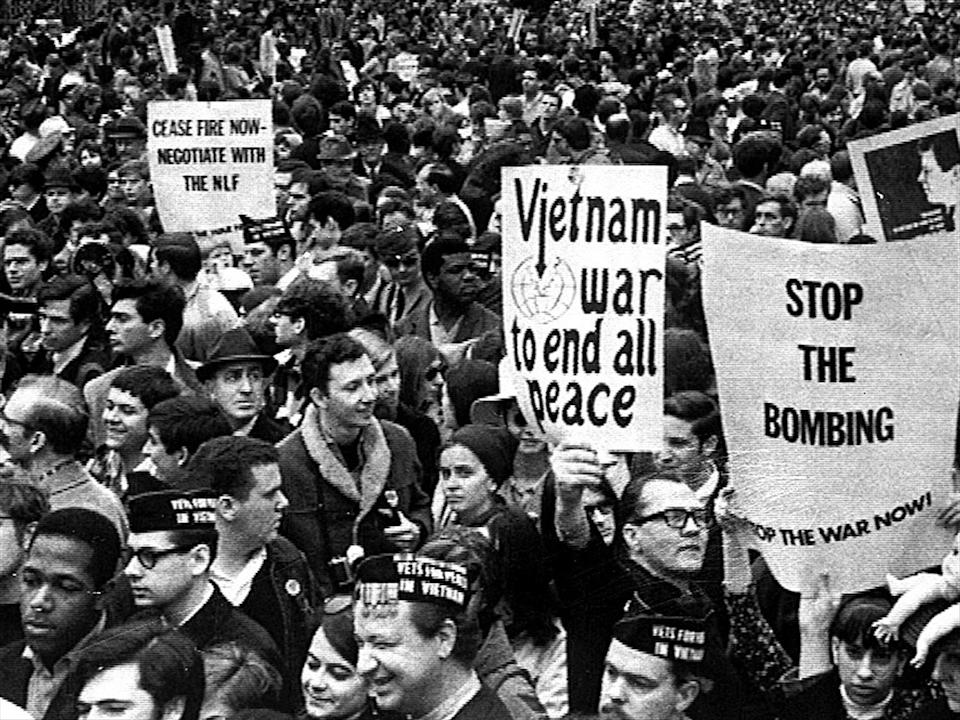 Anti-war protesters at United Nations Plaza, New York, B&W photo