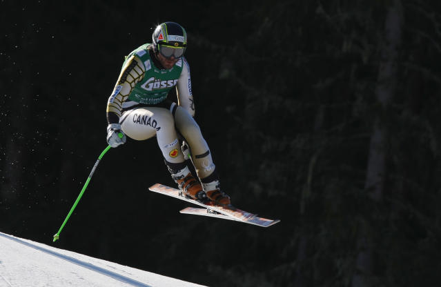 SCHLADMING, AUSTRIA - MARCH 14: (FRANCE OUT) Jan Hudec of Canada competes during the Audi FIS Alpine Ski World Cup Men's Downhill on March 14, 2012 in Schladming, Austria. (Photo by Alexis Boichard/Agence Zoom/Getty Images)