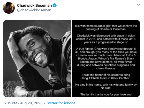 The late actor's family released a statement via his Twitter account. Photo: Twitter/ChadwickBoseman.