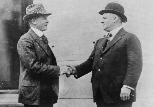 John McGraw (R) with Christy Mathewson in 1913. (AP Photo)