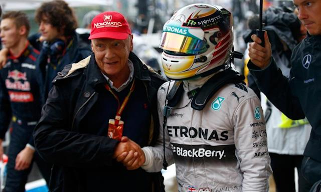 "<span class=""element-image__caption"">Niki Lauda and Lewis Hamilton at Suzuka last year. Lauda was certain Ferrari would take pole at the Chinese Grand Prix.</span> <span class=""element-image__credit"">Photograph: Clive Rose/Getty Images</span>"