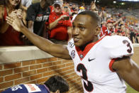 Georgia running back Zamir White (3) celebrates with fans after the team's 43-14 over Tennessee during an NCAA college football game Saturday, Oct. 5, 2019, in Knoxville, Tenn. (C.B. Schmelter/Chattanooga Times Free Press via AP)