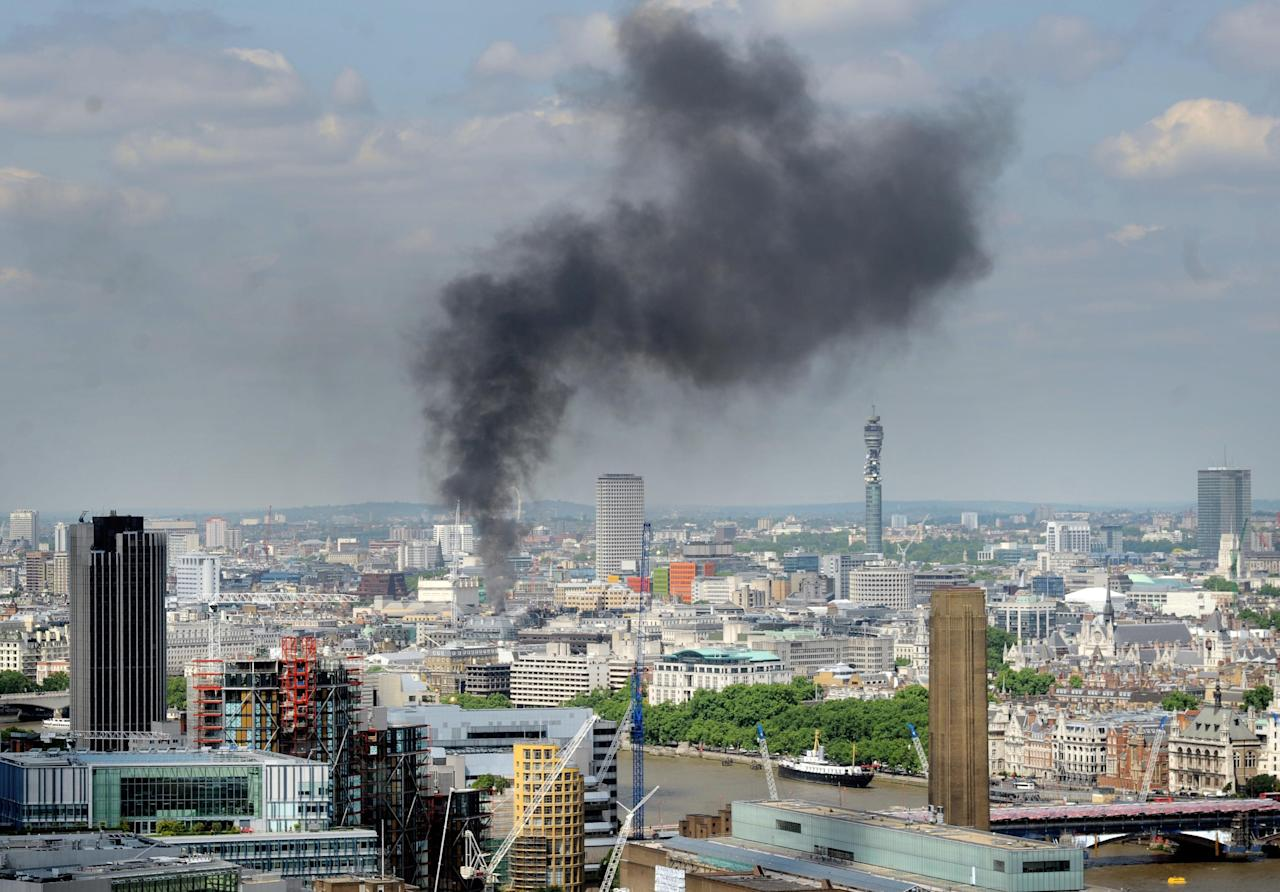 More than 75 firefighters and 20 appliances battled to control a huge fire in London's west end this week. The 10-storey building which houses a hotel and 86 flats on the Strand was being restored. An investigation into the cause of the blaze has started.