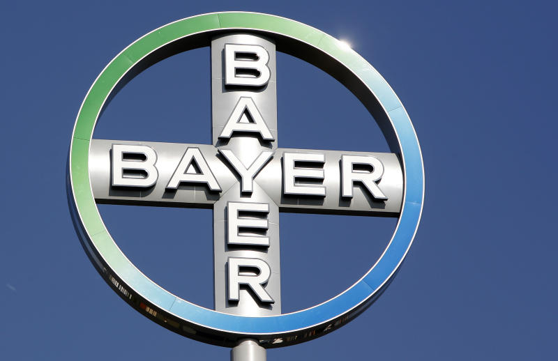 FILE - In this  Sept. 25, 2008 file picture  the logo of the Bayer AG  chemical company rotates on top of an office building in Berlin, Germany. Pharmaceutical and chemical company Bayer AG says Thursday July 28, 2011 second-quarter earnings rose more than 40 percent, propelled by strong growth in the company's crop science division.   (AP Photo/Michael Sohn,file)