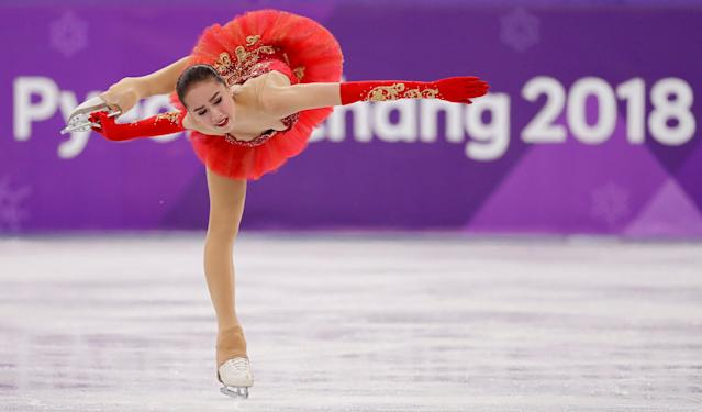 """Figure Skating - Pyeongchang 2018 Winter Olympics - Women Single Skating free skating competition final - Gangneung Ice Arena - Gangneung, South Korea - February 23, 2018 - Alina Zagitova, an Olympic Athlete from Russia, competes. REUTERS/Damir Sagolj SEARCH """"OLYMPICS BEST"""" FOR ALL PICTURES. TPX IMAGES OF THE DAY."""