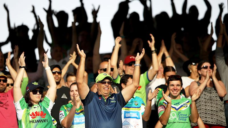 Seen here, Canberra Raiders fans doing the Viking clap at GIO Stadium.