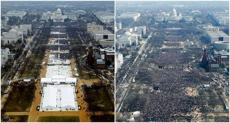 "A combination of photos taken at the National Mall shows the crowds attending the inauguration ceremonies to swear in U.S. President Donald Trump at 12:01pm (L) on January 20, 2017 and President Barack Obama sometime between 12:07pm and 12:26pm on January 20, 2009, Washington, U.S. Lucas Jackson: ""The assignment was simply to shoot the inauguration from the Washington Monument. To avoid confusion I made sure to transmit crowd pictures while Trump was onstage with the crowd at its peak. Twitter quickly erupted with claims that my images were taken early in the morning or photoshopped to remove attendees. At his first briefing, the President's new press secretary, Sean Spicer, said: ""Photographs of the inaugural proceedings were intentionally framed in a way, in one particular tweet, to minimize the enormous support that had gathered on the National Mall. This was also the first time that fencing and magnetometers went as far back on the Mall, preventing hundreds of thousands of people from being able to access the Mall as quickly as they had in inaugurations past."" This was not true. It was a new experience to have the validity of such a straightforward image questioned. After that press conference the picture was everywhere. Later, CNN released an image it took from the portico of the U.S. Capitol as Trump was sworn in. That vantage point is several hundred feet lower than the Washington Monument so the crowd looks bigger than in my picture. A second wave of 'liar' inundated me on Twitter. I ignored the noise but posted a copy of my image on Instagram with the caption: ""Perspective; it matters."" Later people noticed that the clock on the Smithsonian building in my picture shows the time at 1:15. Social media tried to claim my images were taken over an hour after the inauguration once the crowd had thinned. But the Smithsonian said its clock was broken and was stuck on that time."" REUTERS/Lucas Jackson (L), Stelios Varias"