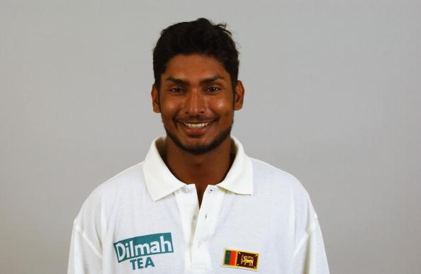 SHENLEY - APRIL 23:  Portrait of Kumar Sangakkara of Sri Lanka during the Sri Lankan Cricket Team photoshoot held in Shenley, England on April 23, 2002. DIGITAL IMAGE. (Photo by John Gichigi/Getty Images)
