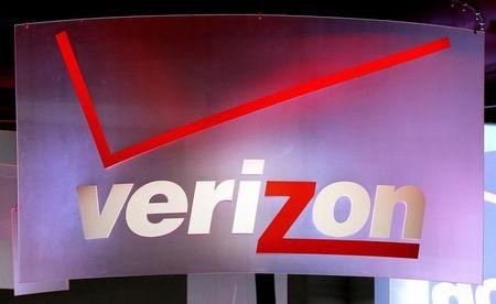 A sign hangs in the Verizon booth on the first day of the Consumer Electronics Show in Las Vegas