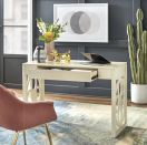 """<p><strong>One Allium Way\u00ae</strong></p><p>wayfair.com</p><p><strong>$253.90</strong></p><p><a href=""""https://go.redirectingat.com?id=74968X1596630&url=https%3A%2F%2Fwww.wayfair.com%2Ffurniture%2Fpdx%2Fone-allium-way-priscilla-desk-w002668930.html&sref=https%3A%2F%2Fwww.housebeautiful.com%2Fshopping%2Fg34533826%2Fbest-purchases-during-pandemic-home-editors%2F"""" rel=""""nofollow noopener"""" target=""""_blank"""" data-ylk=""""slk:Shop Now"""" class=""""link rapid-noclick-resp"""">Shop Now</a></p><p>""""My last desk, which was literally found on the side of the road, was clunky and super old. Needless to say, the pandemic provided the perfect time to upgrade my work desk. I love that the Priscilla Desk has only one drawer and is sleek in appearance. The geometric-floral design on the legs is also a gorgeous touch.""""</p>"""