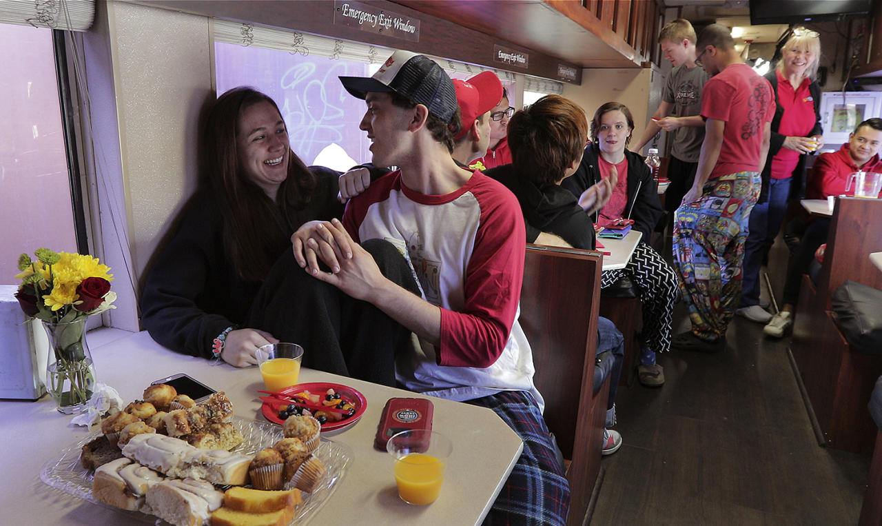 "<p>Beth Walters, left, and Stephen Craig, both clowns with Ringling Bros. and Barnum & Bailey Circus talk during the clowns' final group breakfast, Thursday, May 4, 2017, in Providence, R.I. ""The Greatest Show on Earth"" is about to put on its last show on earth. For the performers who travel with the Ringling Bros. and Barnum & Bailey Circus, its demise means the end of a unique way of life for hundreds of performers and crew members. (Photo: Julie Jacobson/AP) </p>"