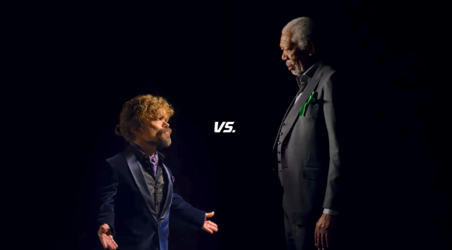 Peter Dinklage (L) and Morgan Freeman in a promo for a Super Bowl ad that will combine Doritos and Mountain Dew. (YouTube)