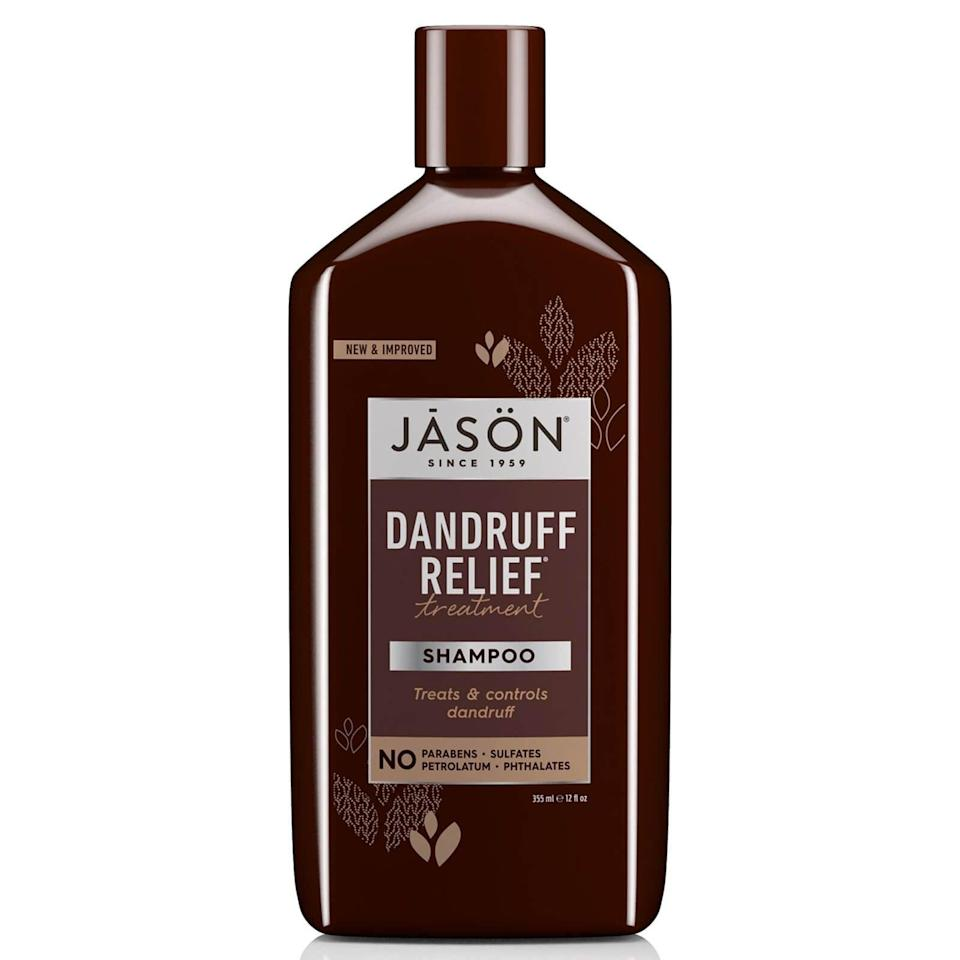 """<h2>Jason Dandruff Relief Treatment Shampoo<br></h2><br>Not only will this formula treat dandruff and cleanse the scalp, but it also has nourishing ingredients like jojoba oil to make your strands softer and smoother after one use.<br><br><strong>Jāsön</strong> Dandruff Relief Treatment Shampoo, $, available at <a href=""""https://www.lookfantastic.com/jason-dandruff-relief-treatment-shampoo-355ml/10546487.html"""" rel=""""nofollow noopener"""" target=""""_blank"""" data-ylk=""""slk:LookFantastic"""" class=""""link rapid-noclick-resp"""">LookFantastic</a>"""