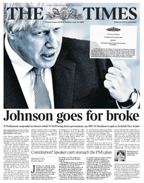 """The Times warned that the Prime Minister might face problems in Parliament in the future, since it was """"dangerous to unite your opponents in righteous indignation"""" as he """"goes for broke"""". (Twitter)"""