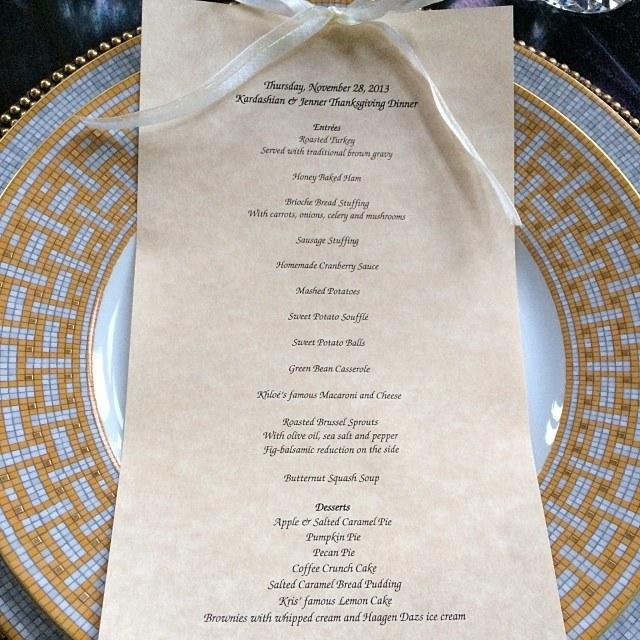 "Fret not if you're having trouble reading this menu from the Kardashians' Thanksgiving in 2013: Other than the fact that there's a total of seven desserts, including ""Kris's famous Lemon Cake,"" the only line you really need to pay attention is ""Khloé's famous Macaroni and Cheese,"" spelled out in Apple Chancery."
