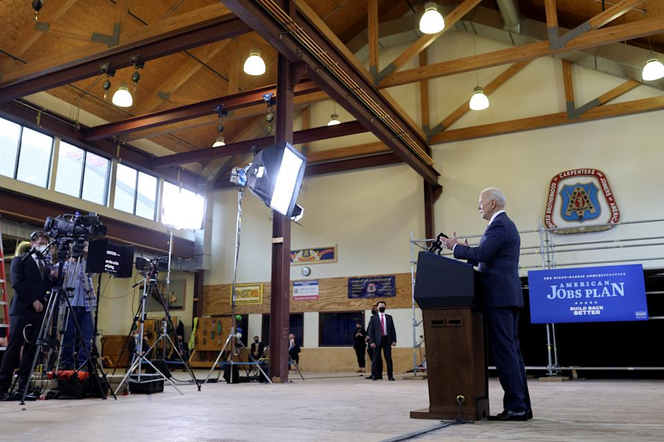 President Joe Biden speaks about his $2 trillion infrastructure plan during an event to tout the plan at Carpenters Pittsburgh Training Center in Pittsburgh, Pennsylvania, U.S., March 31, 2021. (Jonathan Ernst/Reuters)