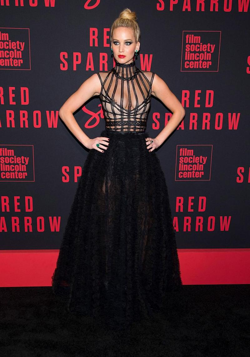 Jennifer Lawrence had a nip slip at the New York premiere of her new film Red Sparrow on Monday. Source: Getty