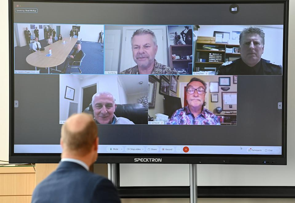 BELFAST, NORTHERN IRELAND - SEPTEMBER: Prince William, Duke of Cambridge takes part in a video call as he attends a PSNI Wellbeing Volunteer Training course including representatives from the Ambulance and Fire and Rescue services, to talk about mental health support within the emergency services at PSNI Garnerville on September 09, 2020 in Belfast, Northern Ireland. (Photo by Tim Rooke - WPA -Pool/Getty Images)