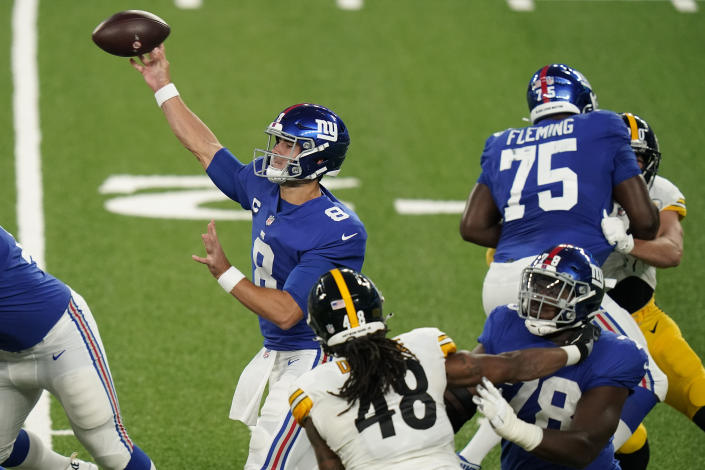 New York Giants quarterback Daniel Jones (8) passes the ball against the Pittsburgh Steelers during the first quarter of an NFL football game Monday, Sept. 14, 2020, in East Rutherford, N.J. (AP Photo/Frank Franklin II)