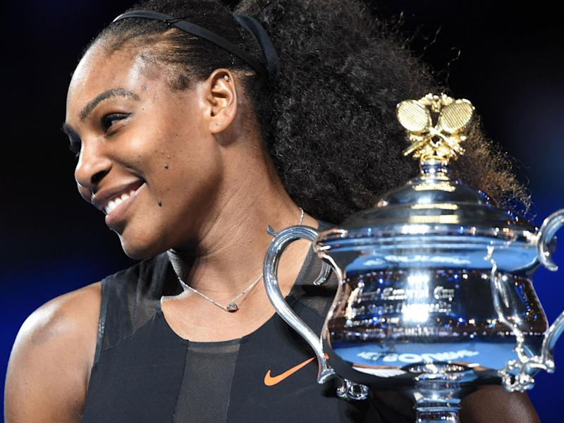 Williams with the Australian Open trophy earlier in the year (Getty)