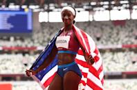 """<p>Biography: 28 years old</p> <p>Event: Women's 100m hurdles</p> <p>Quote: """"To get a silver medal to bring home to my country, I couldn't be happier.""""</p>"""