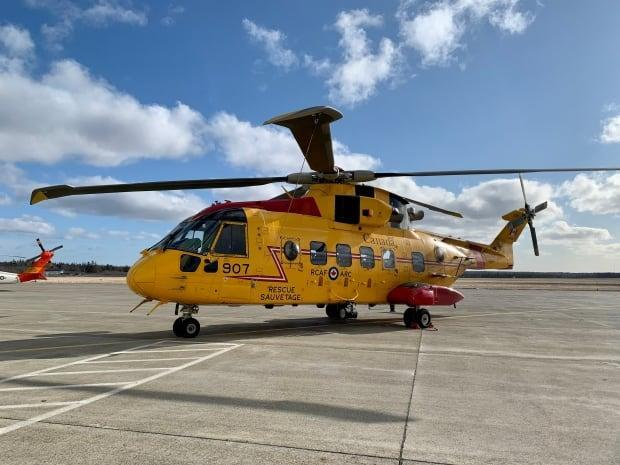 A Canadian military CH-149 Cormorant helicopter used to rescue the crew of the Atlantic Destiny was at the Yarmouth airport on Wednesday.