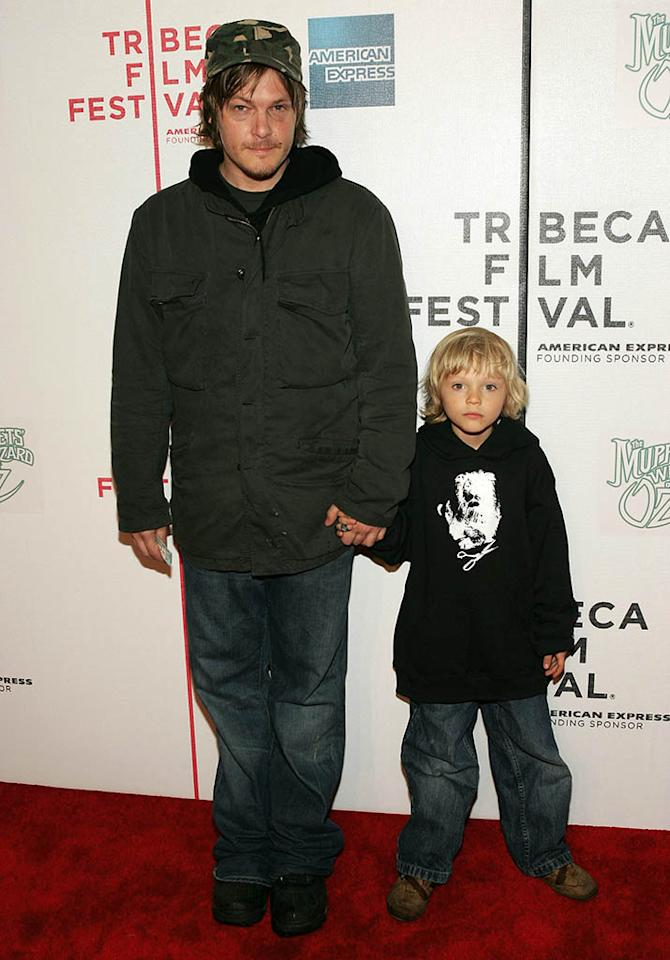 """Norman Reedus and son Mingus attend the premiere of """"The Muppets Wizard of Oz"""" at the Tribeca FAMILY Festival. The FAMILY Street Fair will be this Saturday, April 30 from 10am to 6pm on Greenwich Street."""