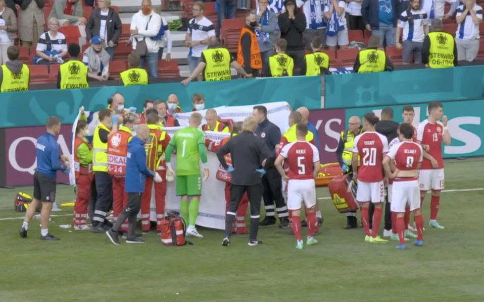 Denmark vs Finland, Euro 2020 live: Match suspended after Christian Eriksen collapses on pitch - Tele pics