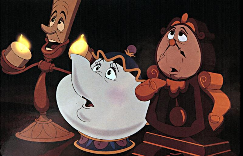 BEAUTY AND THE BEAST, Disney animation, Lumiere (candelabra), Mrs.Potts (Teapot), Cogsworth (Clock), 1991.