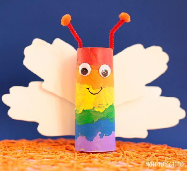 """<p>Save up some empty paper rolls ahead of the party, and then buy paint, googly eyes, pipe cleaners, pom poms, and white foam sheets to help kids make their own rainbow butterflies. </p><p><strong><em><a href=""""https://nontoygifts.com/paper-roll-rainbow-butterfly-craft-kids/"""" rel=""""nofollow noopener"""" target=""""_blank"""" data-ylk=""""slk:Get the tutorial at Non-Toy Gifts"""" class=""""link rapid-noclick-resp"""">Get the tutorial at Non-Toy Gifts</a>. </em></strong></p><p><a class=""""link rapid-noclick-resp"""" href=""""https://www.amazon.com/Foam-Sheet-X18-2mm-White-pack/dp/B004M5QGBQ?tag=syn-yahoo-20&ascsubtag=%5Bartid%7C10070.g.37055924%5Bsrc%7Cyahoo-us"""" rel=""""nofollow noopener"""" target=""""_blank"""" data-ylk=""""slk:SHOP FOAM SHEETS"""">SHOP FOAM SHEETS</a></p>"""