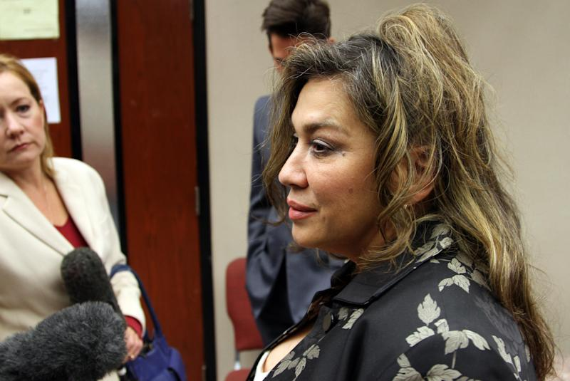 Flora Enchinton, long time friend of late actor Sherman Hemsley who played George Jefferson on television, talks to reporters outside a probate court, Friday, Nov.  9, 2012 in El Paso, Texas. The will in which Hemsley left all his belongings to her is being contested by relatives of the actor.  (AP Photo/Juan Carlos Llorca)