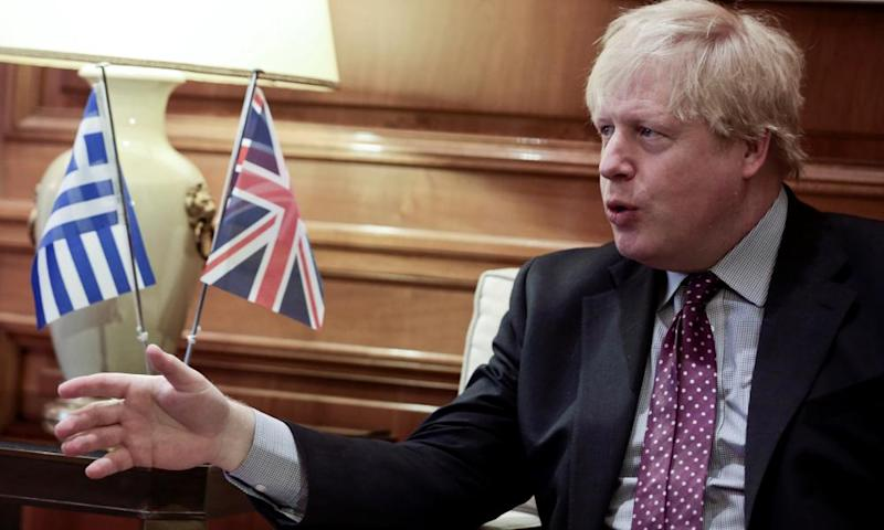 Boris Johnson speaks during a meeting with the Greek prime minister, Alexis Tsipras, in Athens.