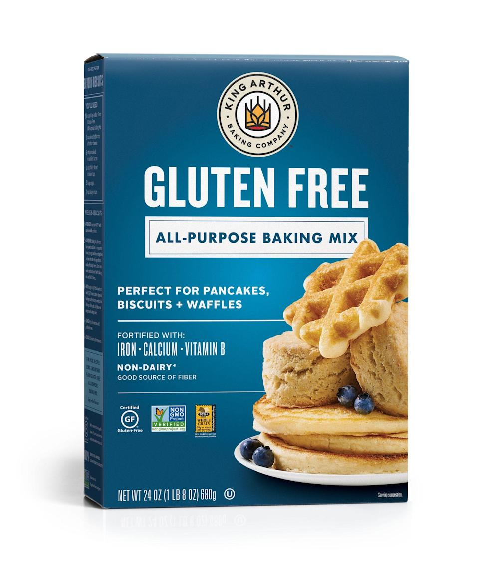 """<p><strong>King Arthur Flour</strong></p><p>walmart.com</p><p><strong>$5.24</strong></p><p><a href=""""https://go.redirectingat.com?id=74968X1596630&url=https%3A%2F%2Fwww.walmart.com%2Fip%2F39085932&sref=https%3A%2F%2Fwww.thepioneerwoman.com%2Ffood-cooking%2Fg36547983%2Fbest-waffle-mix%2F"""" rel=""""nofollow noopener"""" target=""""_blank"""" data-ylk=""""slk:Shop Now"""" class=""""link rapid-noclick-resp"""">Shop Now</a></p><p>This wheat-free mix from King Arthur is made from brown rice flour and fortified with fiber, calcium, and iron. While it's perfect for waffles, you can also use it as a base for all kinds of gluten-free baked goods, like the cinnamon streusel coffeecake recipe on the back of the box. </p>"""