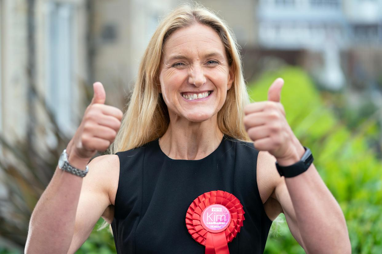 Labour candidate Kim Leadbeater celebrates by a canal in Huddersfield after winning the Batley and Spen by-election. Picture date: Thursday July 1, 2021.