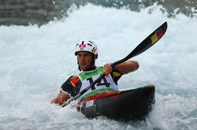 LONDON, ENGLAND - JULY 29: Mathieu Doby of Belgium competes during the Men's Kayak (K1) Canoe Slalom heats on Day 2 of the London 2012 Olympic Games at Lee Valley White Water Centre on July 29, 2012 in London, England. (Photo by Phil Walter/Getty Images)
