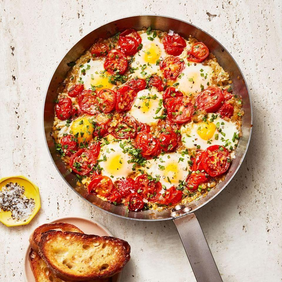 """<p>Breakfast in bed, anyone? For a super original brunch idea, try this Turkish egg and tomato bake.</p><p><em><a href=""""https://www.goodhousekeeping.com/food-recipes/a34908201/easy-shakshuka-recipe/"""" rel=""""nofollow noopener"""" target=""""_blank"""" data-ylk=""""slk:Get the recipe for Shakshuka »"""" class=""""link rapid-noclick-resp"""">Get the recipe for Shakshuka »</a></em></p><p><strong>RELATED: </strong><a href=""""https://www.goodhousekeeping.com/food-recipes/g4201/best-brunch-recipes/"""" rel=""""nofollow noopener"""" target=""""_blank"""" data-ylk=""""slk:60 Best Brunch Ideas to Try This Weekend"""" class=""""link rapid-noclick-resp"""">60 Best Brunch Ideas to Try This Weekend</a></p>"""