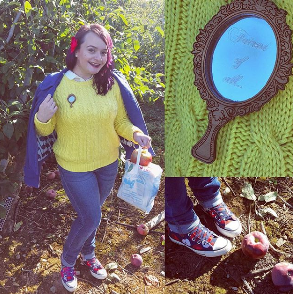 "<a href=""https://www.instagram.com/50shadesofgroot/"" target=""_blank"">Brittani Enos-Blake</a> Disneybounding as Snow White. She wore a Magic Mirror pin instead of carrying an actual mirror.  (Brittani Enos-Blake of @50ShadesofGroot)"