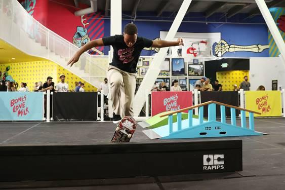 Pro skater, Cordano Russell, at the @BonesLoveMilk Shredquarters in Huntington Beach, Calif., Wednesday, July 24, 2019. Russell and @BonesLoveMilk skate teammates dropped into halfpipe at the skatepark pop-up, a week-long program hosted by the California Milk Processor Board dedicated to celebrating skate and California street culture while showcasing the real benefits of milk as nature's energy drink. (Photo by Matt Sayles/Invision for CMPB/AP Images)