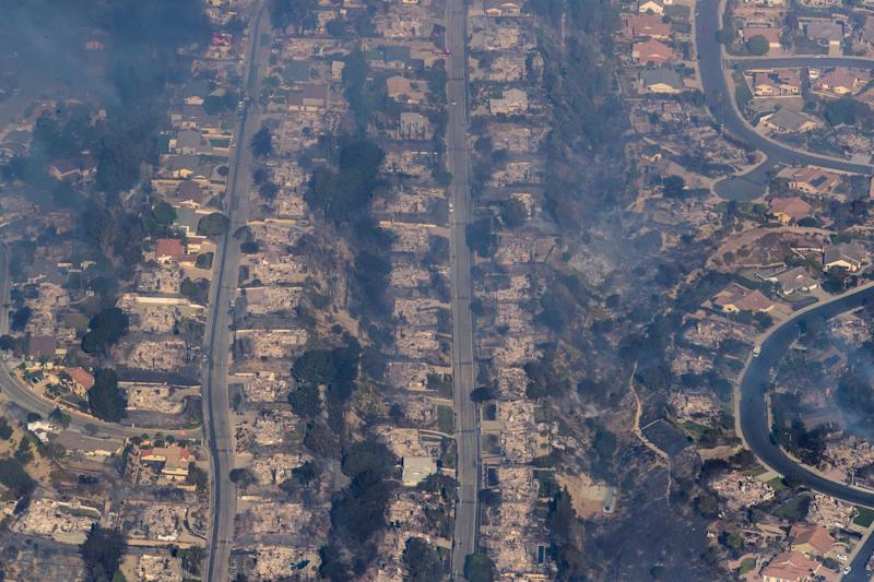 One of the wildfires plaguing Southern California destroyed dozens of homes in a Ventura County neighborhood.