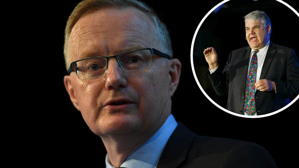 Left: RBA Governor Philip Lowe; Right: Independent economist Stephen Koukoulas. (Source: Getty, Yahoo Finance)
